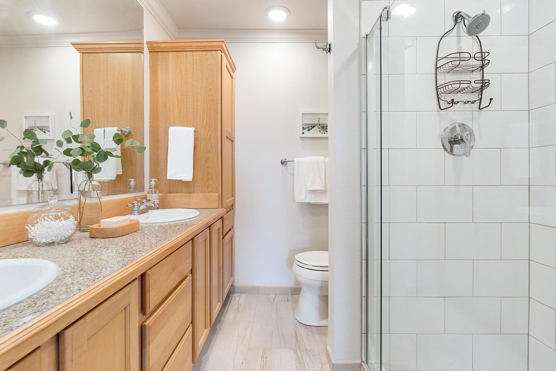 Updated master bath with dual sink vanity