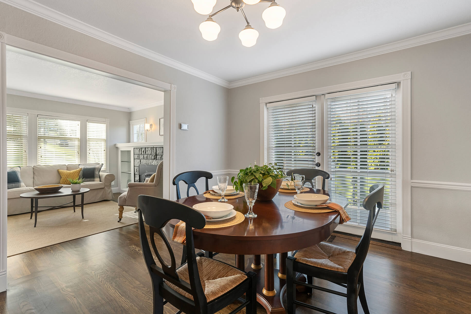 Formal dining room with French doors to view deck