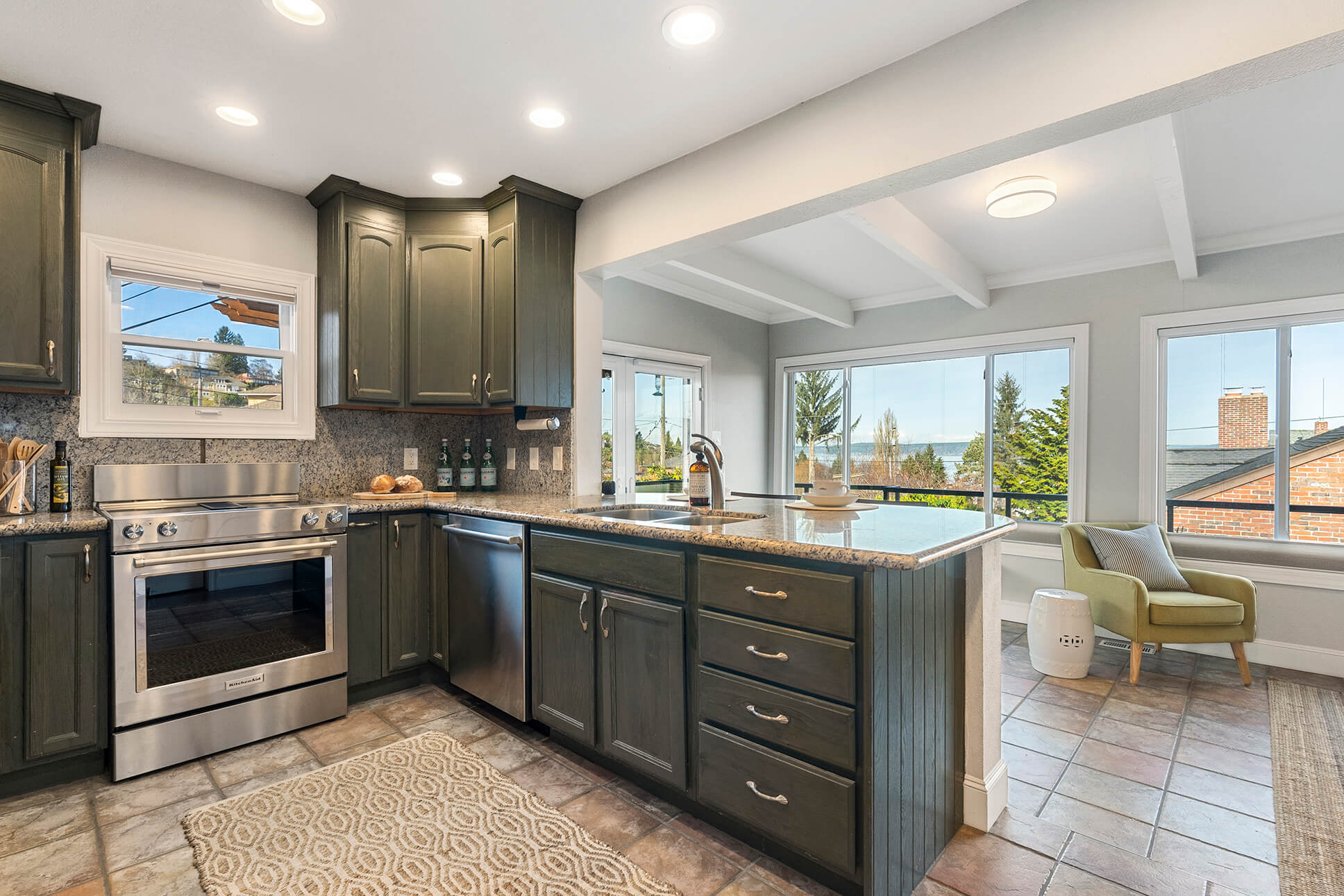 Kitchen offers gentle water views