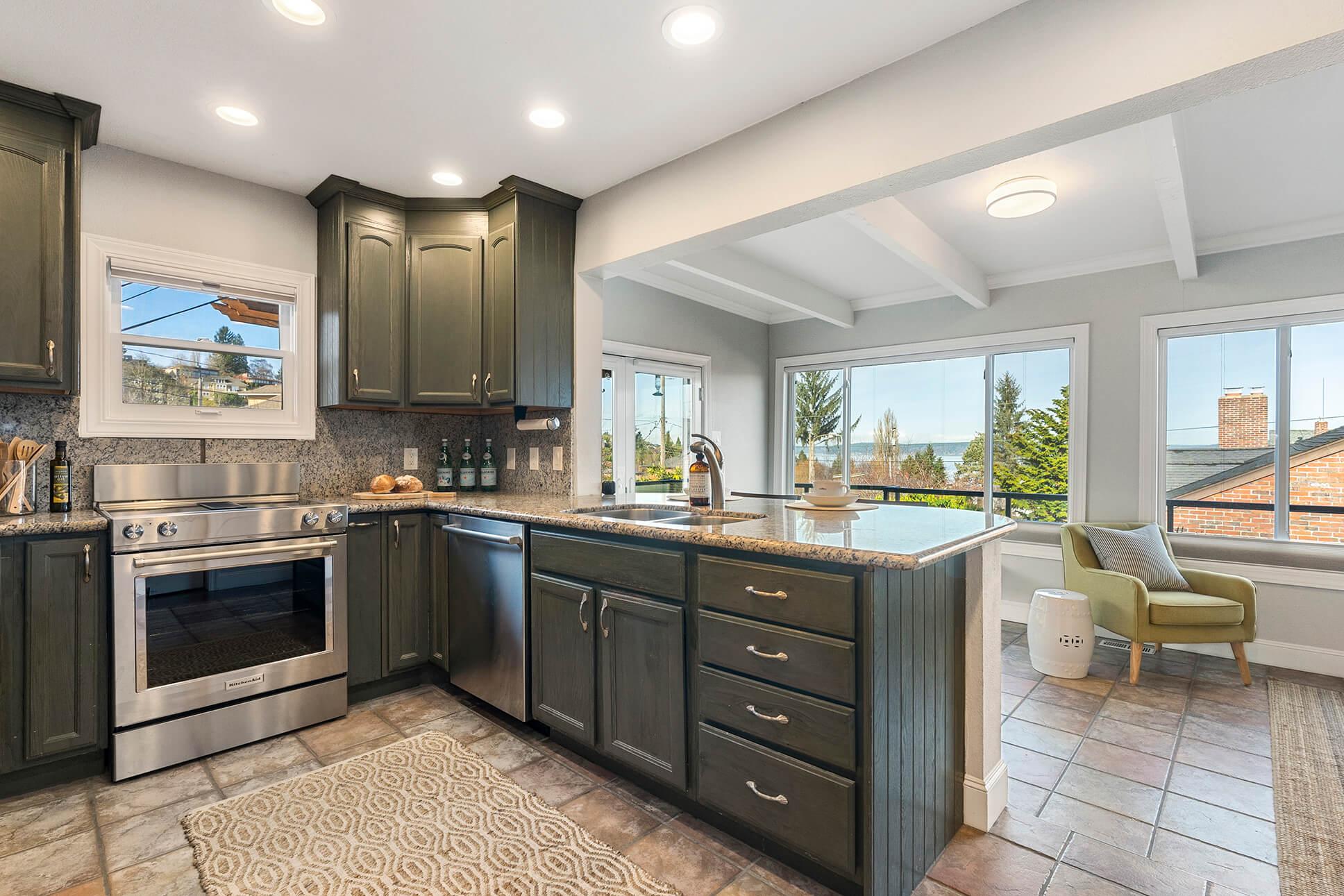 Kitchen offers gentle water views