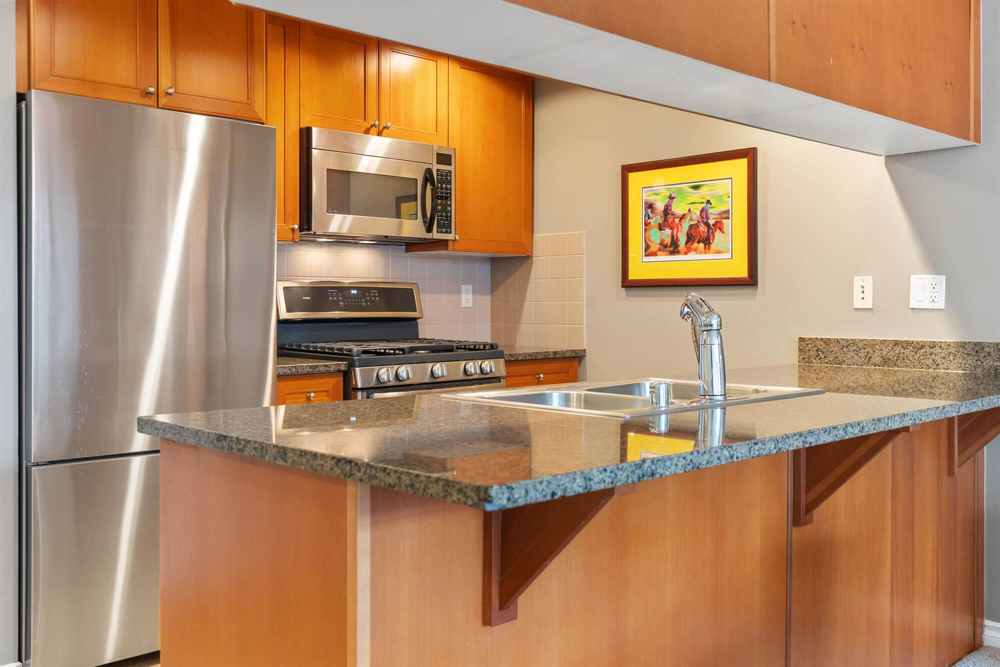Galley kitchen with breakfast bar