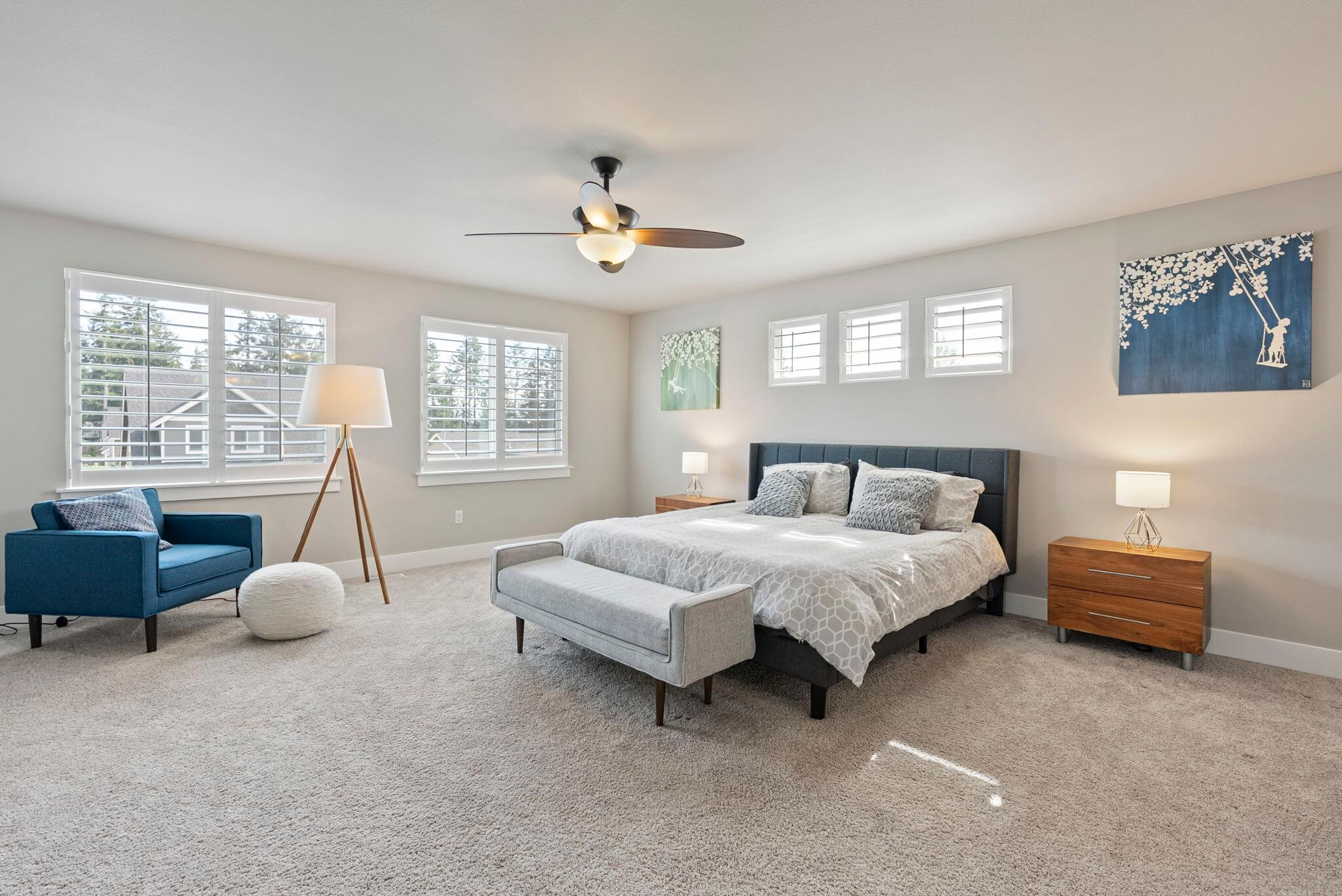Spacious primary bedroom