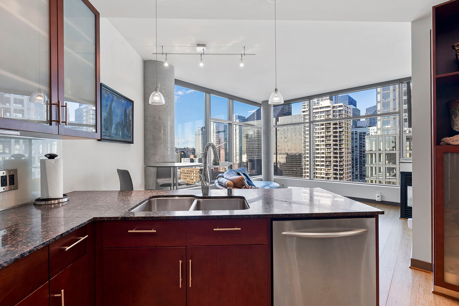Dramatic city views from the kitchen