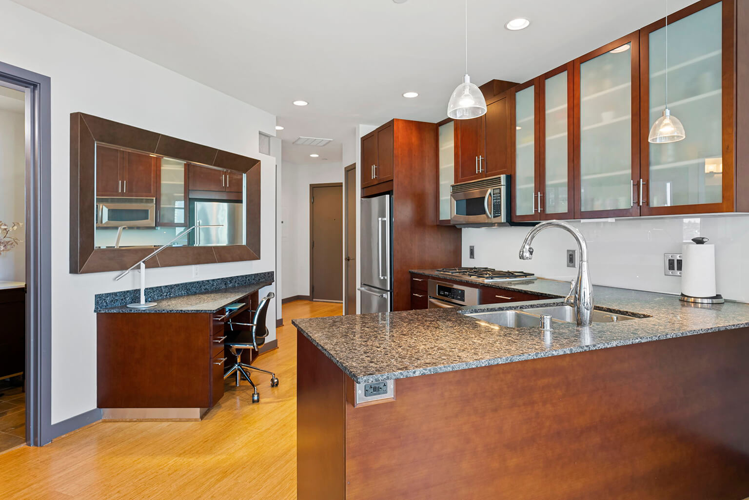 Granite counters and a custom work station