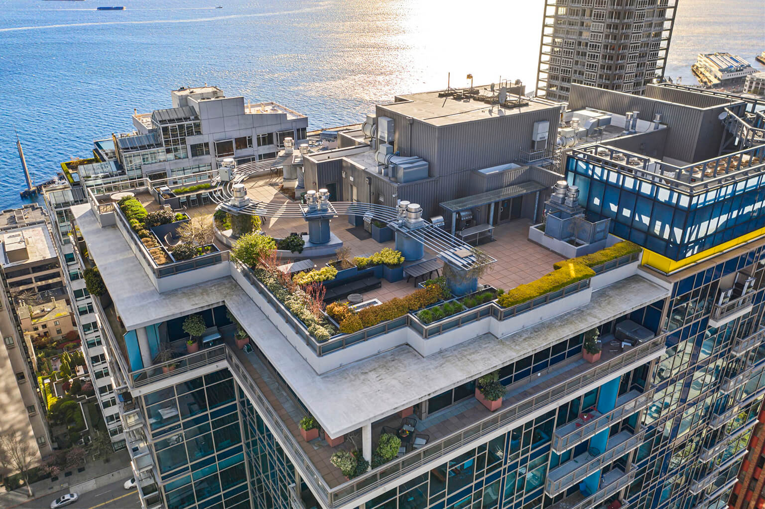 Roof top Sky Terrace offers great space for entertaining and stunning water and mountain views