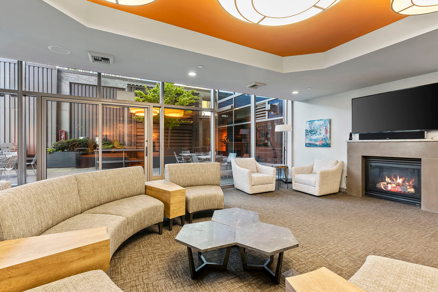 Impressive club room and adjacent patio are great for large scale entertaining