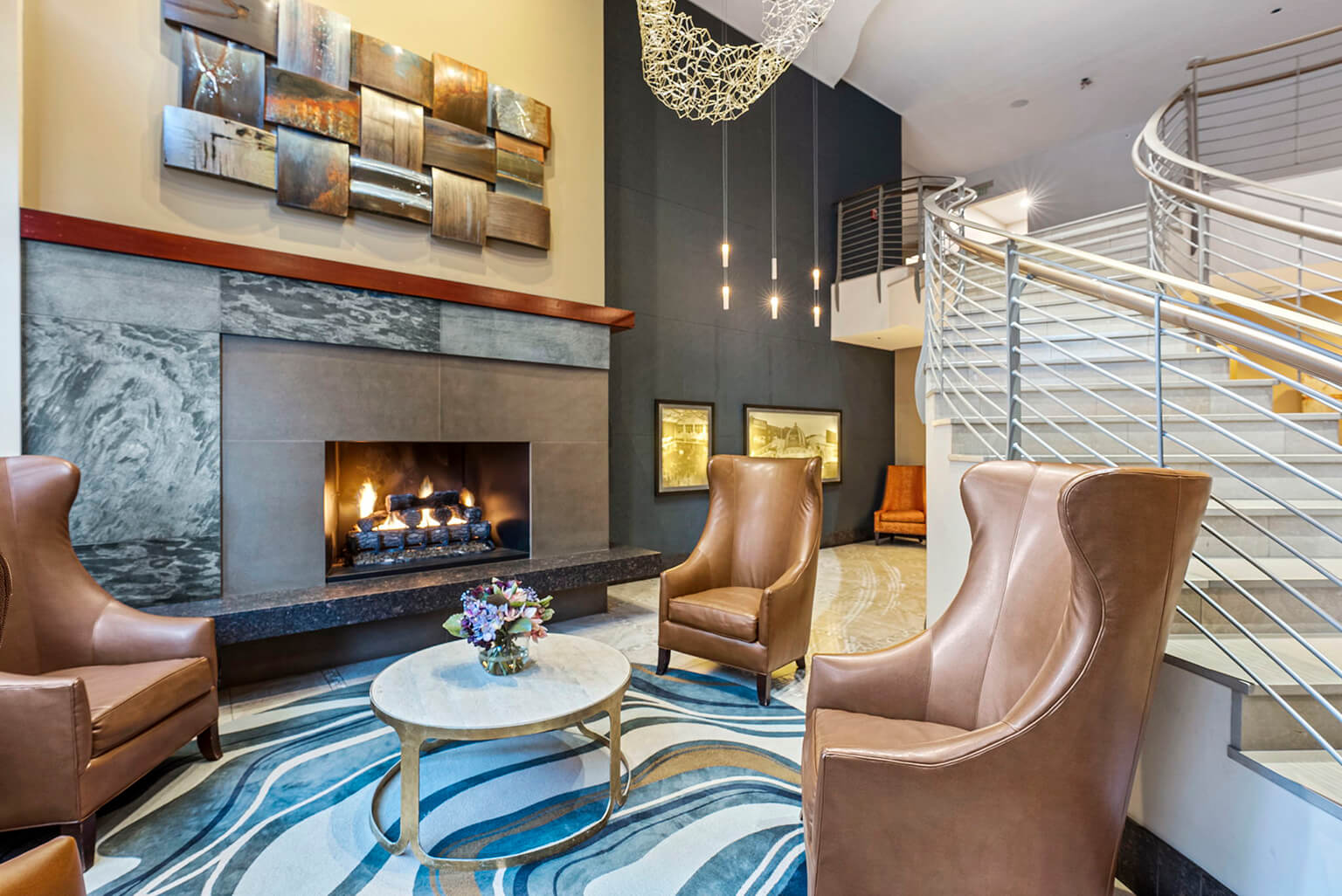 Lobby lounge with gas fireplace