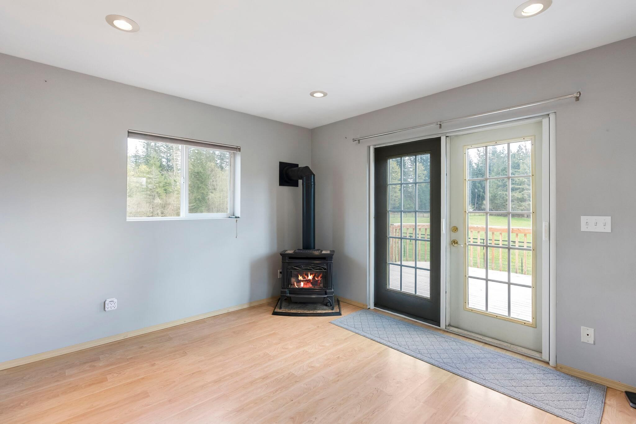 Apartment living room with gas stove