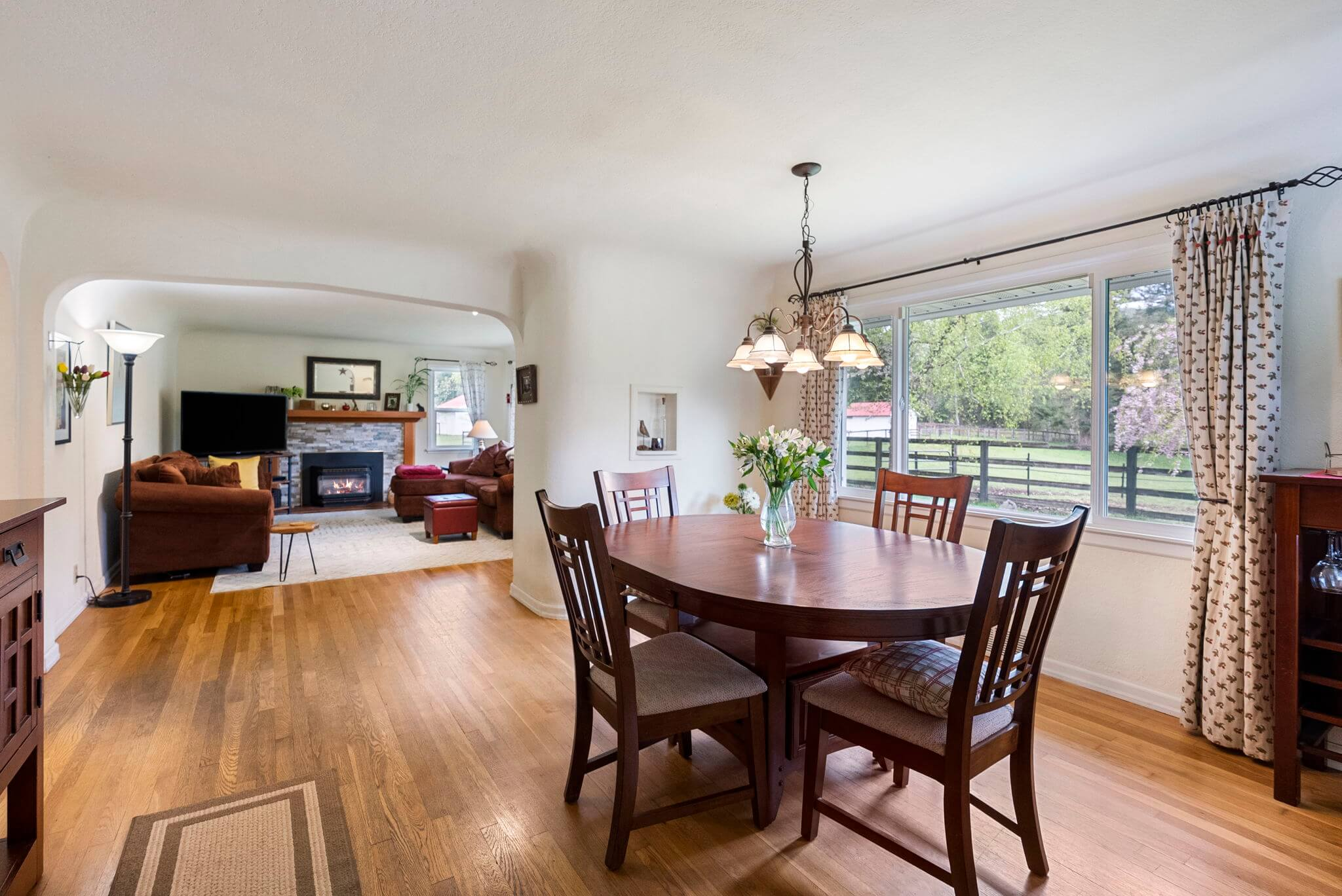Dining room with pasture views