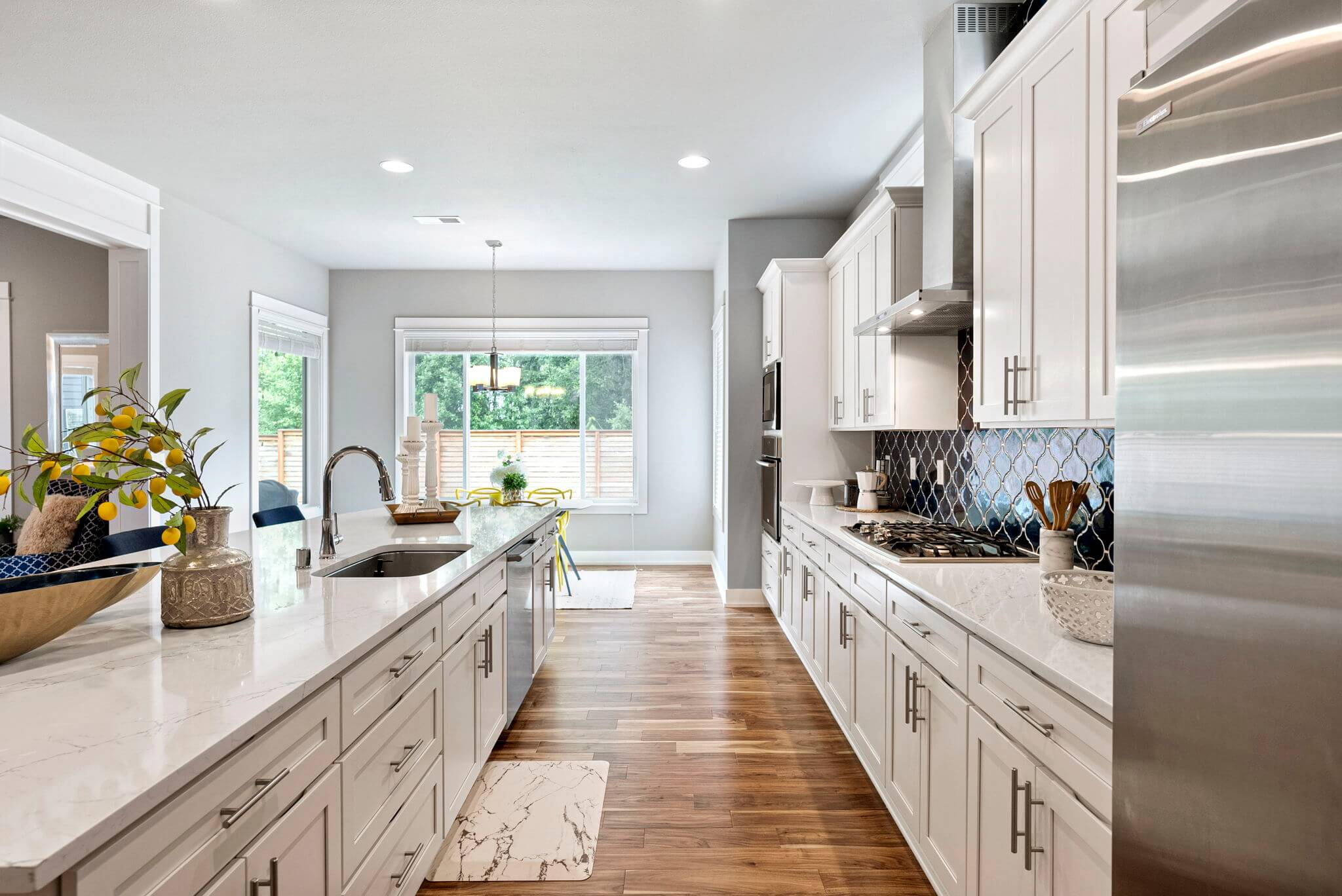 Quartz counters and engineered hardwood floors