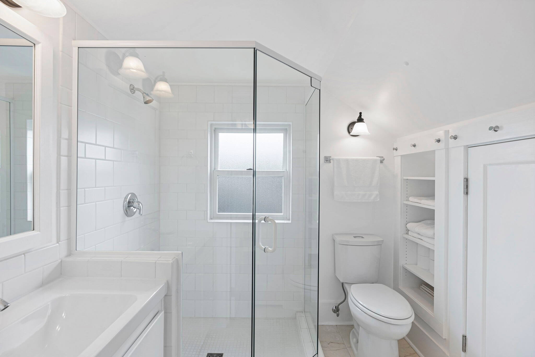 Master bathroom with glass shower and heated floor