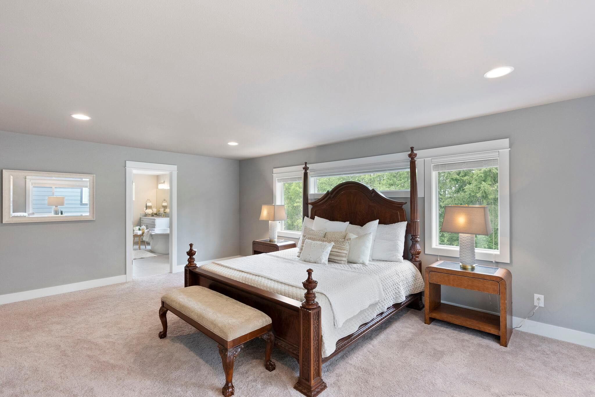One of three upstairs bedrooms