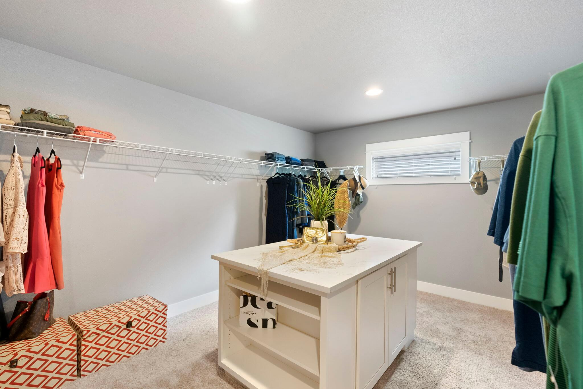 Primary suite features a large walk-in closet with built-in storage
