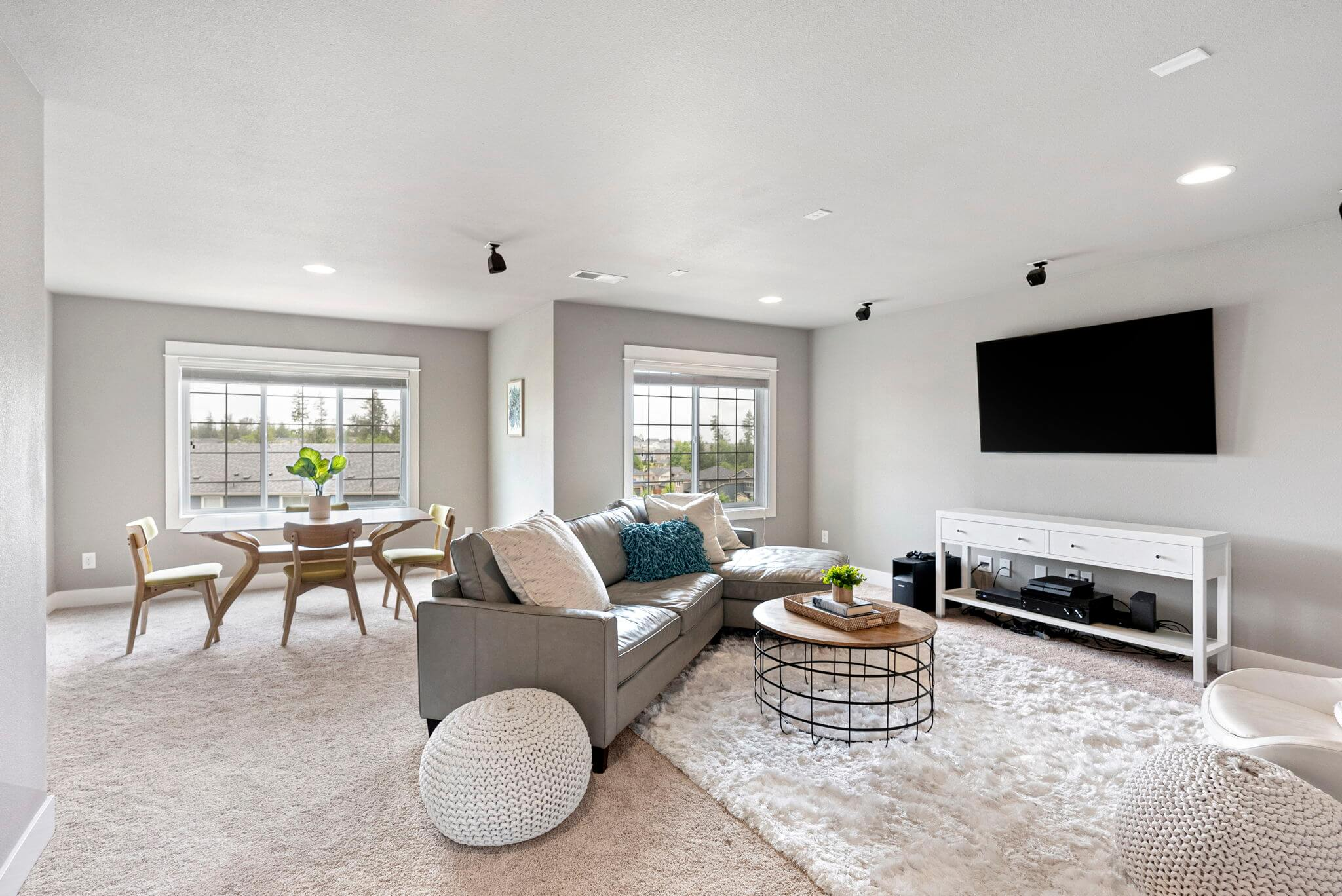 Large family room upstairs is wired for surround sound