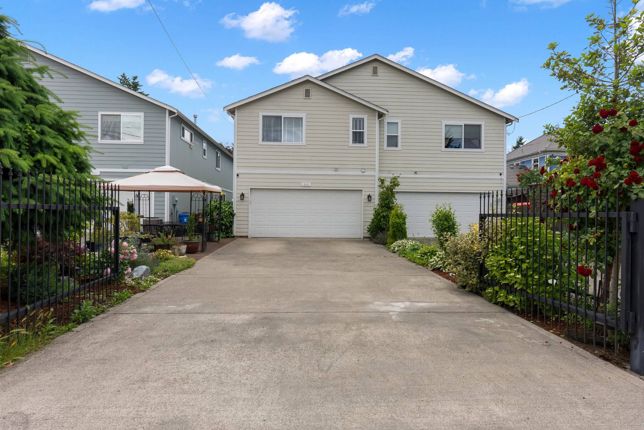 Attached two car garage and gated driveway for additional parking