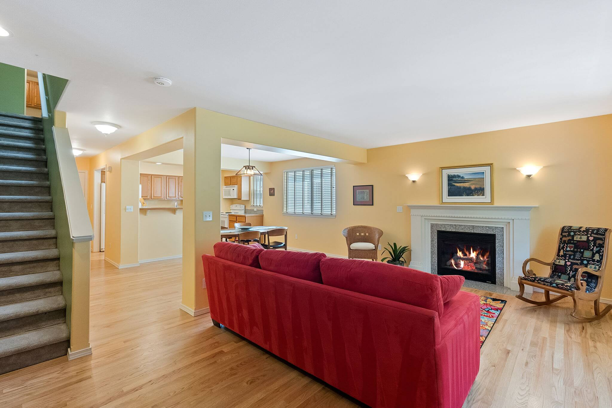 Open concept floor plan on the entry level