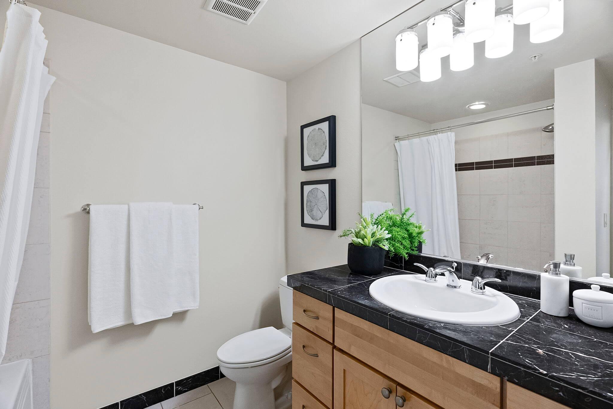 Full bathroom with granite topped vanity
