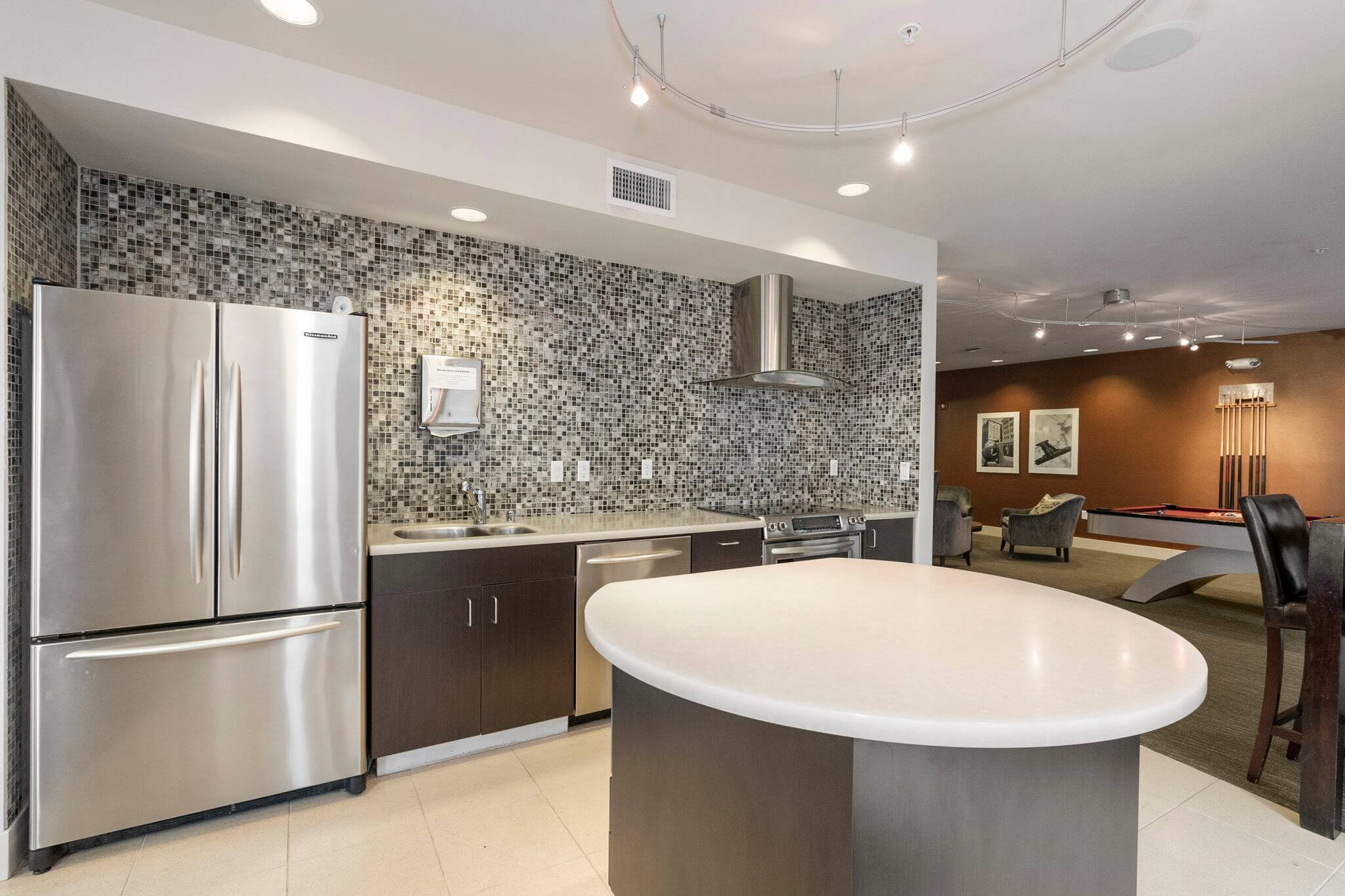 Club room features a full kitchen, ideal for entertaining