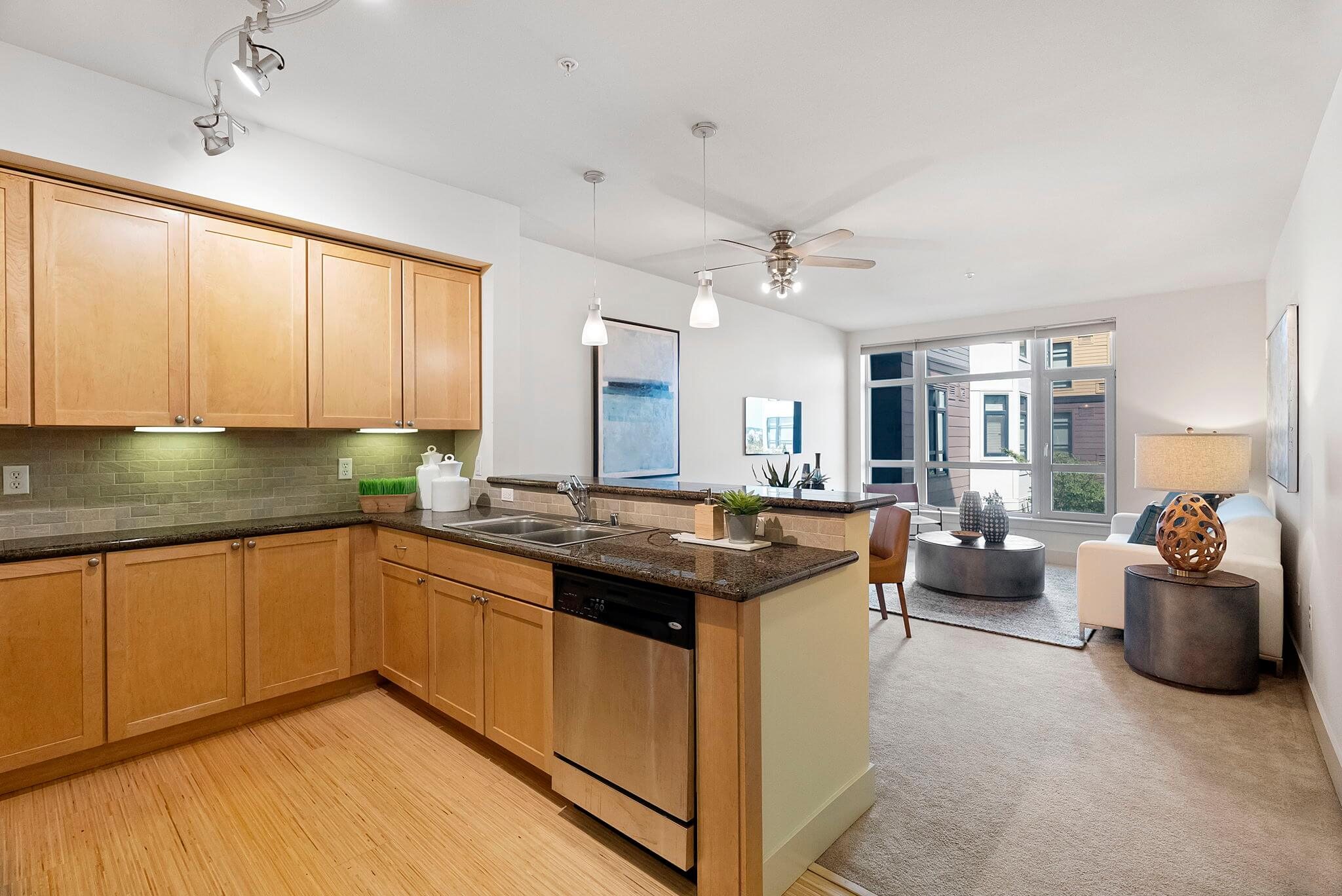 Kitchen is open to the main living space