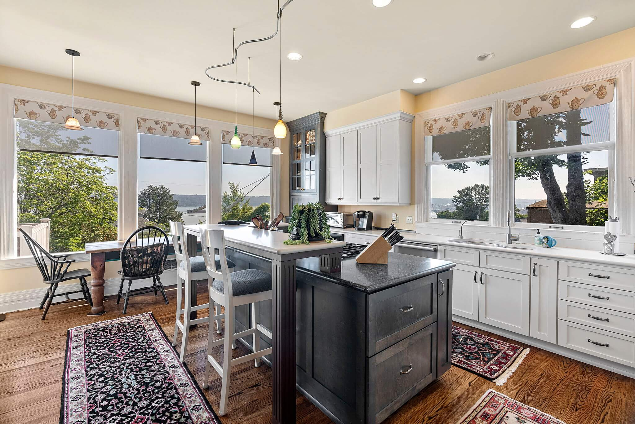 Updated eat-in kitchen with water views