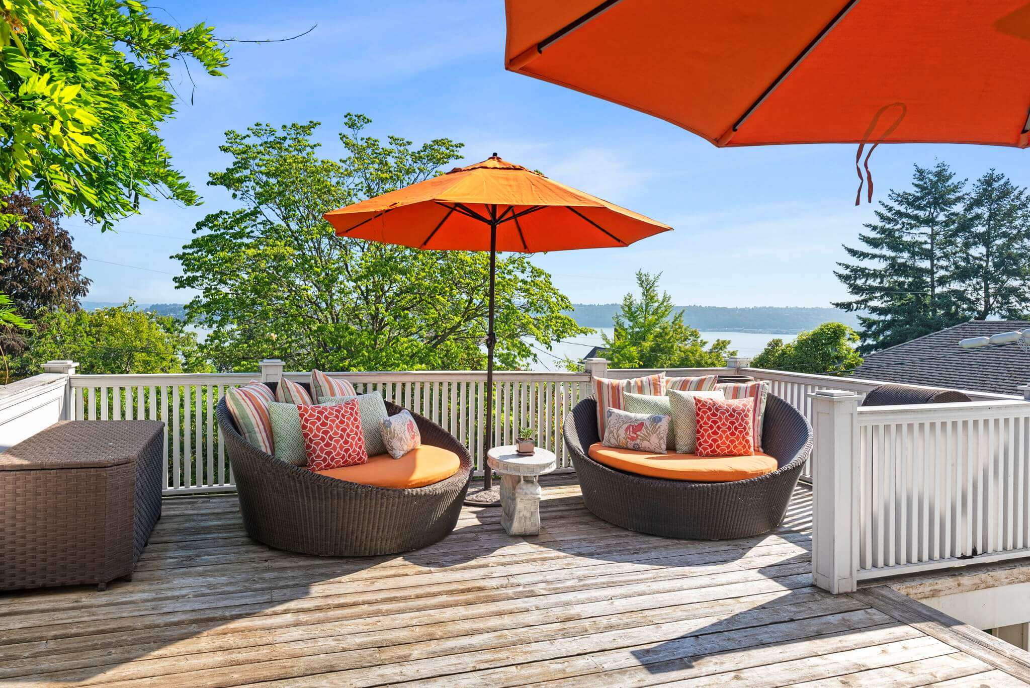 Deck offers water views and privacy