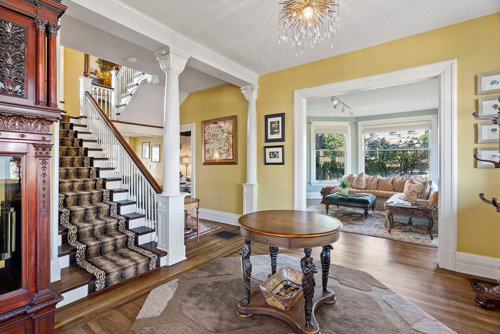 Impressive formal entry with refinished hardwood floors