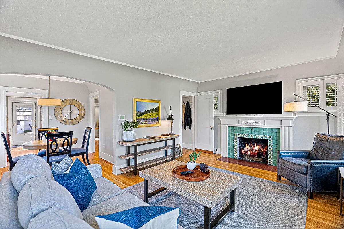 Coved ceilings and original hardwood floors