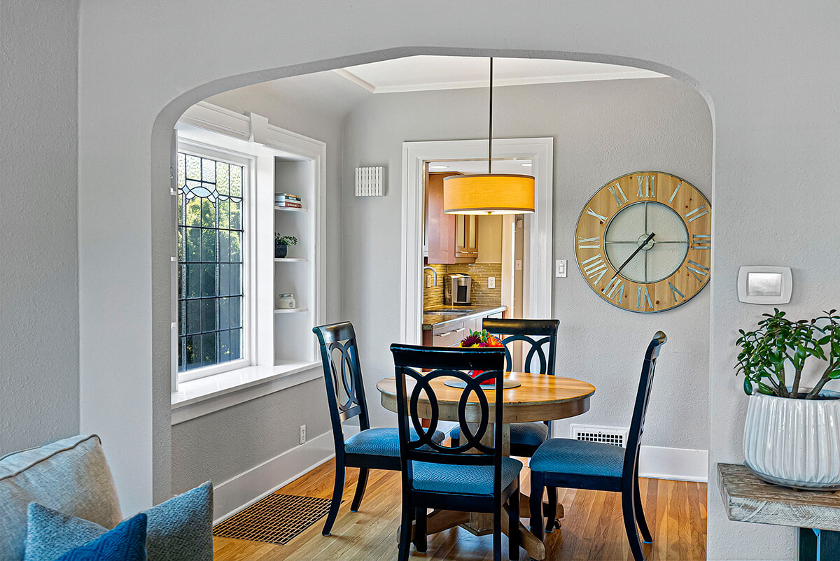 Dining room with original leaded glass window